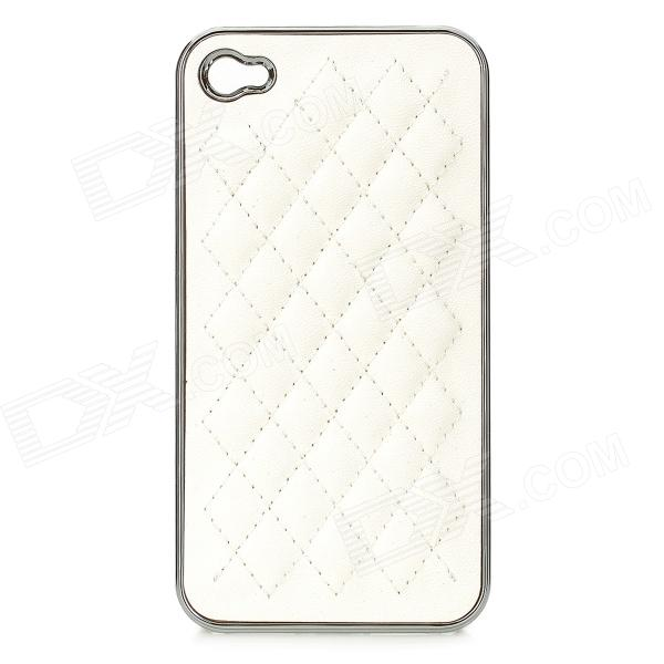 cqda Rhombus Pattern Protective Plating + PU Leather Back Case for IPHONE 4 / 4S - White + Silver