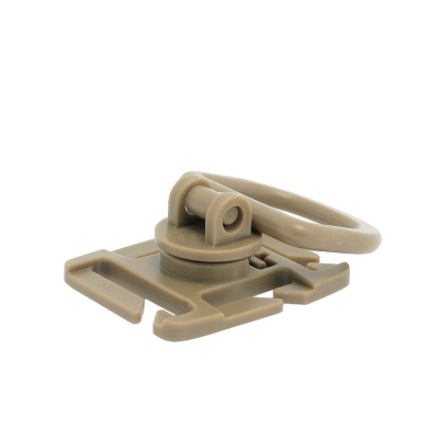 360 Degree Rotation Tactical D-Ring Buckle for MOLLE Locking Carabiner Backpack - Khaki (2 PCS)