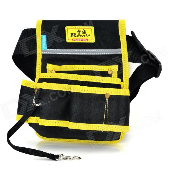 REWIN WB-9025 Handy 2-pocket 5-holder Water Resistant Dacron Waist Tool Bag - Black + Yellow best price mgehr1212 2 slot cutter external grooving tool holder turning tool no insert hot sale brand new