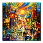 Iarts DX0415-12 Prosperous City Evening Street Hand Painted Oil Painting