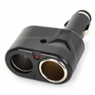 12V Car 2-Socket Lighter Adapter + Dual USB Charger + Cigarette Lighter + Micro USB Cable - White