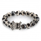Fenlu TZMN-065 Stylish Skull Ornament Agate Beads Bracelet - Black + White