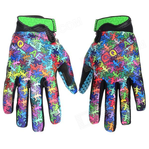 Qepae 7509 Windproof Cycling Lycra + Sponge Full-Finger Gloves - Black + Multicolored (XL / Pair)