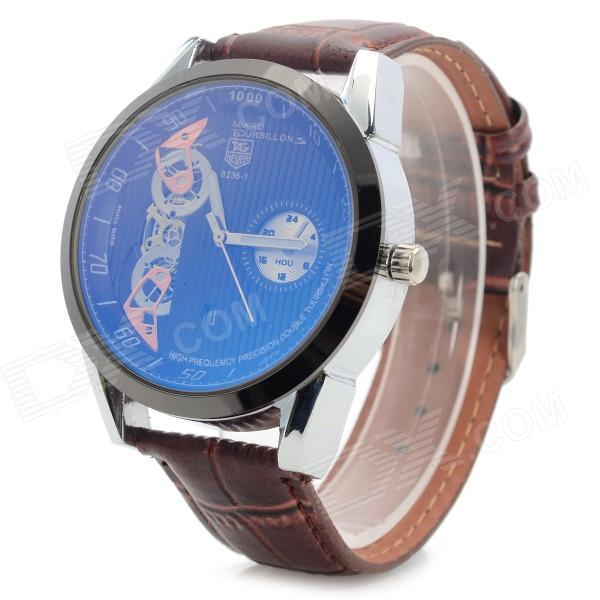 Men's Stylish Analog Quartz Wristwatch w/ Calendar - Brown + Silver (1 x 377)