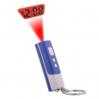 Mini LED Projection Digital Clock with Key Chain Ring - Black + Red + Blue