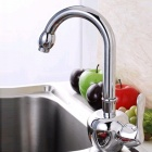 High Quality Fashionable Chrome 360° Rotatable Brass Kitchen Sink Faucet - Silver
