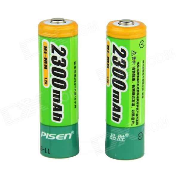 Pisen 2300mAh Ni-MH Rechargeable AA Batteries - Green (2 PCS) аккумулятор aa energizer rech extreme fsb4 2300 mah ni mh 4 штуки