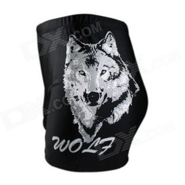 Wolf Pattern Men's Swimming Trunks - Black + White (Free Size) цена и фото