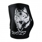 Wolf Pattern Men's Swimming Trunks - Black + White (Free Size)
