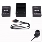 Fat Cat Smart 1.6A Fast Dual-Charging Charger+ 2-1650mAh Batteries Travelling Set for GoPro Hero3+/3