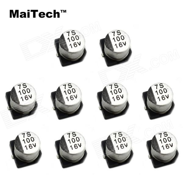MaiTech 7 x 7MM 16V 100UF SMD Aluminum Electrolytic Capacitors - Silver + Black (10 PCS) maitech 12 x 8mm 63v100uf electrolytic capacitors black 10 pcs