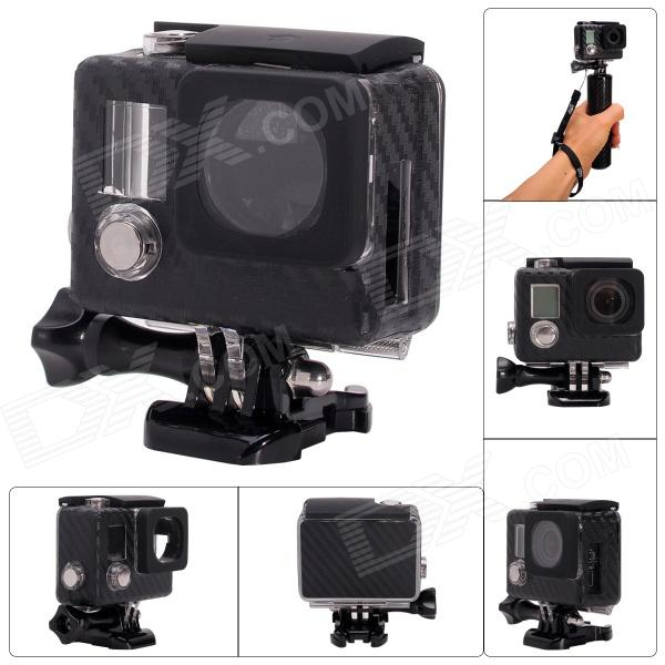 Fat Cat Carbon Fiber Style Side Open Housing Protective Case Skeleton Housing for GoPro Hero 3+ / 3 three dimensional adjustable helmet side mount for gopro hero 3 3 2 1 black