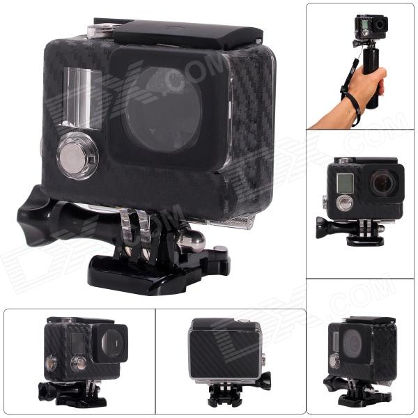 Fat Cat Carbon Fiber Style Professional 30M Waterproof Case Skeleton Housing for GoPro Hero 3+ / 3 at 707 7w pet fish tank submersible pump black eu plug 220 240v