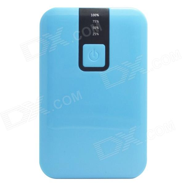 JY-1803 10000mAh External Battery Charger Mobile Power Source Bank w/ LED Flashlight - Blue - DXMobile Power<br>Color Blue Model JY-1803 Quantity 1 Set Material Plastic Shade Of Color Blue Compatible Models IPHONE 5SIPHONE 5CIPHONE 5IPHONE 4IPHONE 4SIPHONE 3gsIPHONE 3gOthersSamsung / Nokia etc. Compatible Type Universal Battery Type Li-ion battery Voltage 5 V Capacity Range 10001mAh~15000mAh Nominal Capacity 12000 mAh Battery Actual Capacity 10000 mAh Input 1A Output 1 / 2.1A Charging Time 10~12 Hour Working Time 6~10 Hour Features LED IndicatorFlashlight Packing List 1 x Power bank 1 x USB cable (52cm) 3 x Adapters (Mini USB / Micro USB / Nokia DC 2.0mm)<br>