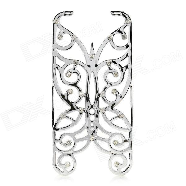 Hollowed Butterfly Style ABS Back Case Cover for IPHONE 5 / 5S - Silver butterfly bling diamond case
