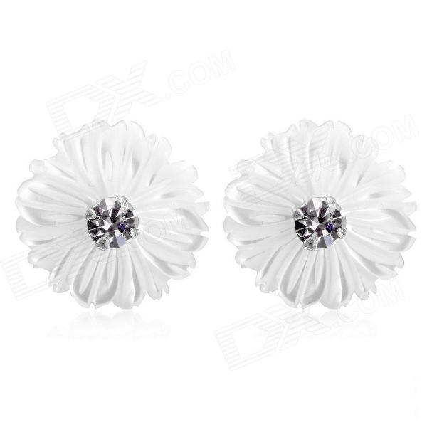 EQute Elegant S925 Sterling Silver + Pearl Daisy Flower Earrings - Silver + White (2 PCS) equte xpew25c1 women s elegant luxurious pearl style rhinestones brooch white
