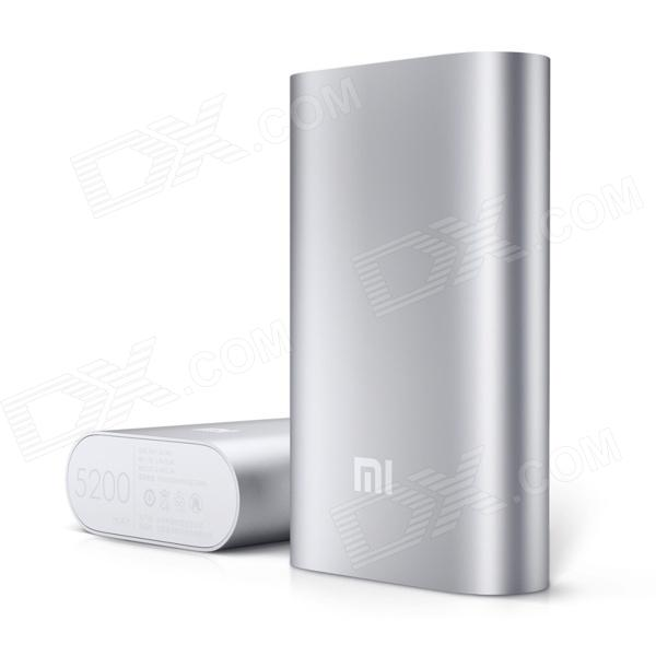 XIAOMI NDY-02-AH 5200mAh USB Mobile Power Source Bank w/ 4-LED Indicators - Silver + White 5200mah mini rechargeable mobile power bank for cellphone tablet pc more blue white