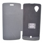 External 3800mAh Back Power Battery w/ PU Leather Cover for Google Nexus 5 - Black