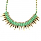 IN-Color 124676160 Fashionable Punk Style Metal Rivets Bullet Tip Cone Necklace - Green