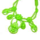 IN-Color C0100001310 Fashionable Sweet Beaded Geometric Pendant Ribbon Necklace - Green
