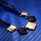 eQute PPEW26C2 Retro Square Shaped Zina Alloy Pendant Necklace for Women - Black + Golden