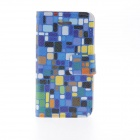Kinston Colorful Squares Pattern PU Leather Case Cover Stand for IPHONE 4 / 4S - Blue + Black