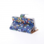 Kinston Colorful Squares Padrão PU Leather Case Cover Stand para IPHONE 4 / 4S - Azul + Preto