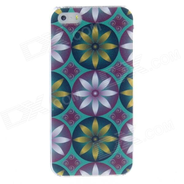 Kinston Double Color Eight Petals Protective Plastic Back Case for IPHONE 5 / 5S - Blue + Yellow kinston flowers