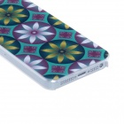 Kinston Double Color Eight Petals Protective Plastic Back Case for IPHONE 5 / 5S - Blue + Yellow