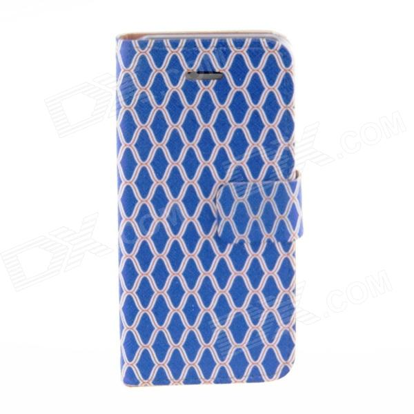 Kinston Blue Grid Pattern Protective PU Leather Case Cover Stand for IPHONE 5 / 5S - Blue + Golden for iphone 7 plus 5 5 inch grid pattern pu leather back case grey
