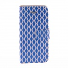 Kinston Blue Grid Pattern Protective PU Leather Case Cover Stand for IPHONE 5 / 5S - Blue + Golden