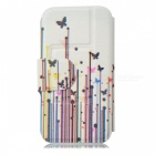 Kinston Grass Butterfly Pattern Protective PU Leather Case Cover Stand for IPHONE 5 / 5S - White