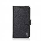 Flower Show Protective PU Leather Case Cover Stand w/ Card Slot for Samsung Galaxy S4 i9500 - Black