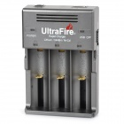 UltraFire WF-128S UK Plug 4.2V 1000mA 3-Slot Li-ion Battery Charger for 26650 - Grey + Black