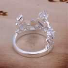 Stylish Women's Crown Shaped Ring - Silver (US Size 11)