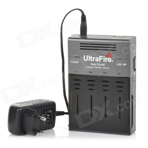 UltraFire WF-128S EU Plug 1000mA 4-Slot Li-ion Battery Charger for 18650 / AA / AAA / 16340 - Black 5pcs 5v 1a micro usb 18650 li ion lithium battery charging protection board charger module tp4056 for arduino