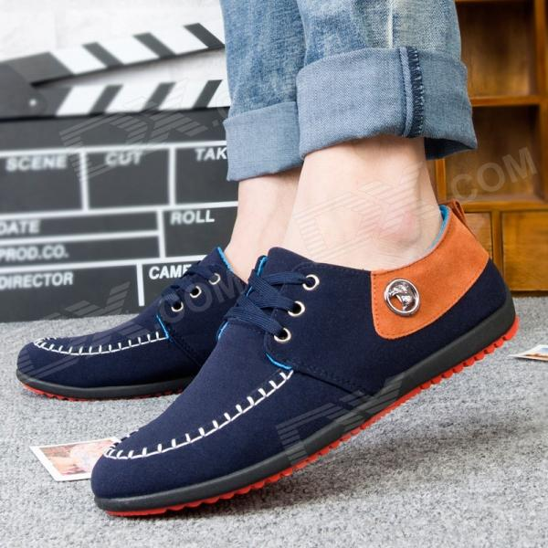 Men's Fashionable Casual Breathable Canvas Shoes - Blue + Brown (EUR Size 44)