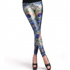 Elonbo Y1C4 Women's Fashionable Peacock Style Polyester + Spandex Tight Leggings - Purple + Blue