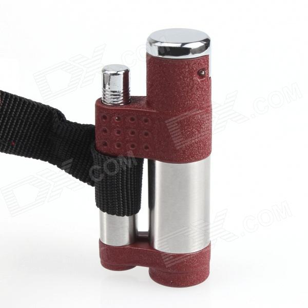HY 069 Pendant Butane Jet Windproof Lighter - Silver + Dark Red