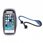 Running Sport Waterproof Armband Case w/ Back-Hang Hands-free Stereo Headset for IPHONE 5S / 5 -Grey