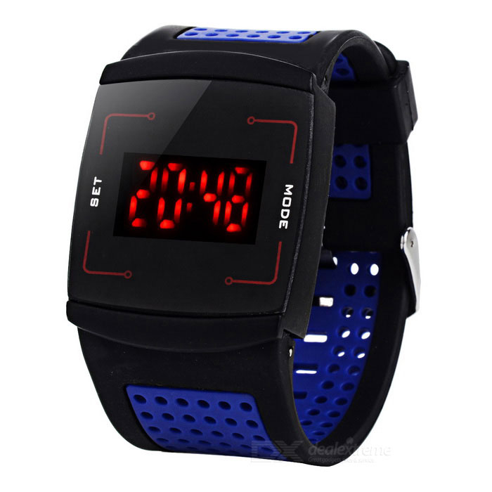 Square Zinc Alloy Case Silicone Band Touch Digital Wrist Watch for Men - Dark Blue + Black