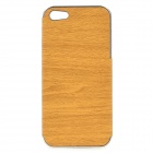 Wood-261 Stylish Protective PU + PC Back Case for IPHONE 5 / 5S -  Brown + Silver