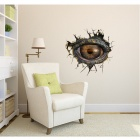 3D Dinosaur Eyes Pattern Wall Stickers Decal - Bronze + Brown