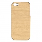 Wood-261 Stylish Protective PU + PC Back Case for IPHONE 5 / 5S -  Wood + Silver