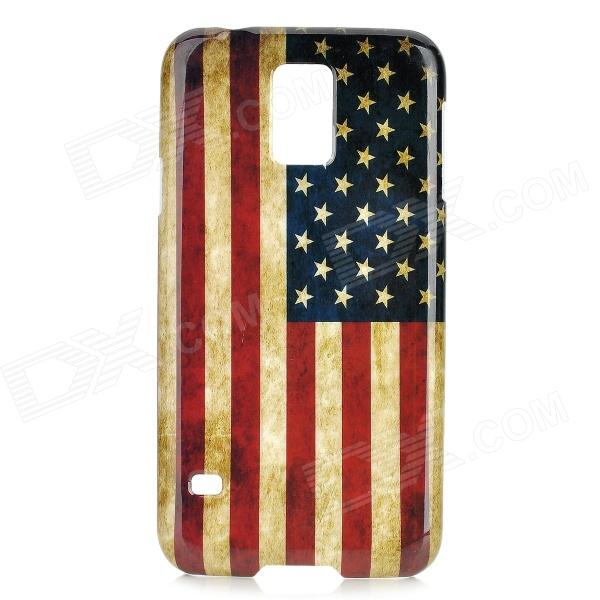 US Flag Pattern Star-Shaped Protective Plastic Back Case Cover for Samsung Galaxy S5 - Red + Blue embossed us flag pattern plastic battery back cover for samsung galaxy note 4 red blue