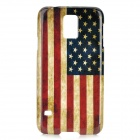 US Flag Pattern Star-Shaped Protective Plastic Back Case Cover for Samsung Galaxy S5 - Red + Blue