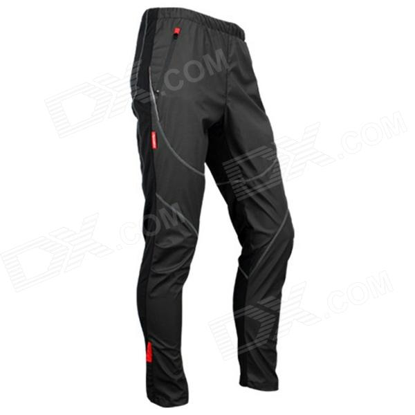 Santic C04007 Outdoor Cycling Warm Polyester + Spandex Fleeces Pants for Men - Black (L)