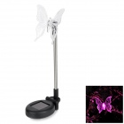 Solar Powered Color-Changing Butterfly Pattern Garden Decorative LED Light - Black + Silver