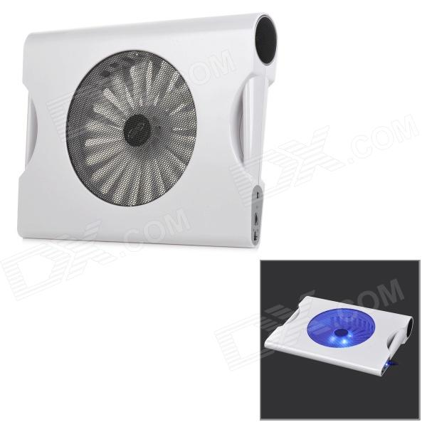 Hunpol NB-078 USB Blue LED Light Cooling Pad 1-Fan Cooler w/ Speaker for 12