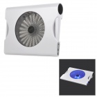 "Hunpol NB-078 USB Blue LED Light Cooling Pad 1-Fan Cooler w/ Speaker for 12"" ~ 17"" Notebook - White"